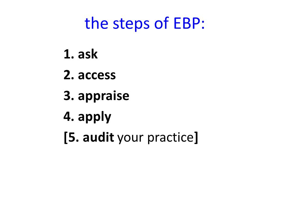 ask access 3. appraise 4. apply [5. audit your practice]